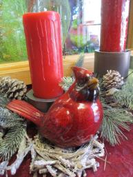 Red Cardinal and Candle